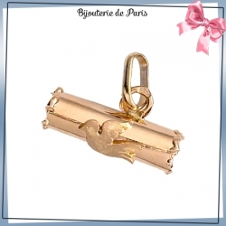 Pendentif porte-message et colombe or 9 carats
