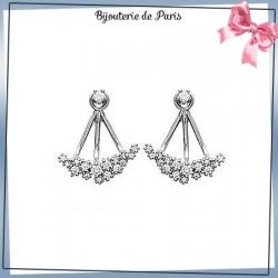 Bijoux lobes oreilles argent et zirconiums romantique