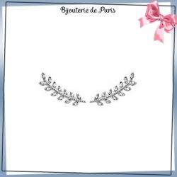 Bijoux contours d'oreilles argent et zirconiums laurier