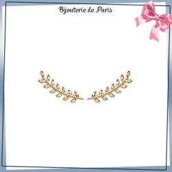 Bijoux contours d'oreilles plaqué or et zirconiums laurier