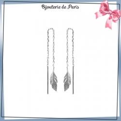 Boucles d'oreilles longues plume argent