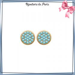 Boucles d'oreilles pastille bleu turquoise plaqué or