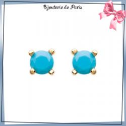 Boucles d'oreilles bleu turquoise plaqué or - 5 MM
