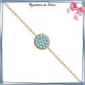 Bracelet pastille bleu turquoise plaqué or