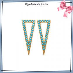 Boucles d'oreilles triangle bleu turquoise plaqué or