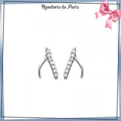 Boucles d'oreilles os porte-bonheur bréchet argent et zirconiums