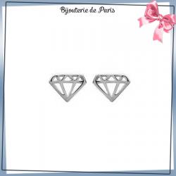Boucles d'oreilles diamant découpé argent