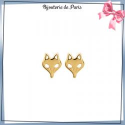 Boucles d'oreilles tête renard découpé plaqué or
