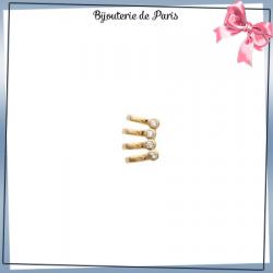 Bague d'oreille 4 anneaux plaqué or et 4 zirconiums