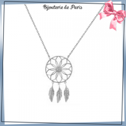 Collier attrape-rêves argent, 3 plumes