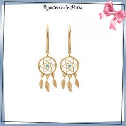 Boucles d'oreilles pendantes attrape-rêves plaqué or, turquoise 3 plumes