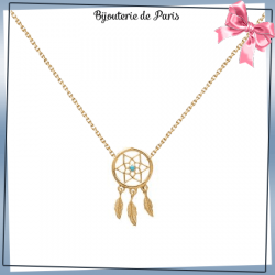 Collier attrape-rêves plaqué or, turquoise, 3 plumes