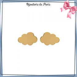 Boucles d'oreilles puce nuage plaqué or