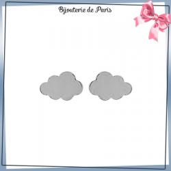 Boucles d'oreilles puce nuage argent