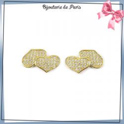 Boucles d'oreilles coeurs zirconiums plaqué or