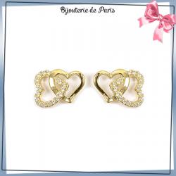 Boucles d'oreilles 2 coeurs zirconiums plaqué or