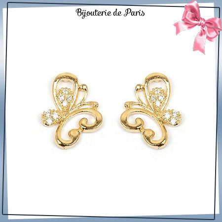 Boucles d'oreilles papillon zirconiums plaqué or