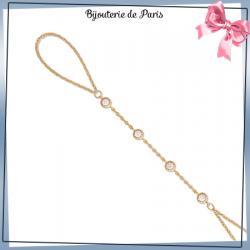 Bracelet-bague 4 pierres en plaqué or et zirconiums