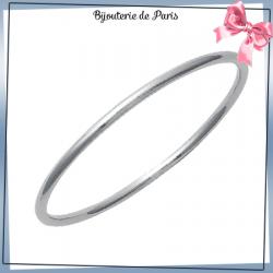 Bracelet jonc acier gris fil rond - 3 MM - 62 MM