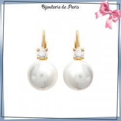 Boucles d'oreilles brisures perles en plaqué or et zirconium