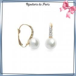 Boucles d'oreilles brisures perles en plaqué or et zirconiums