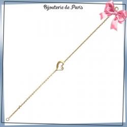 Bracelet coeur plaqué or strass