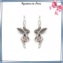 Boucles d'oreilles dormeuses fée quartz blanc argent