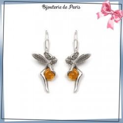 Boucles d'oreilles dormeuses fée ambre argent