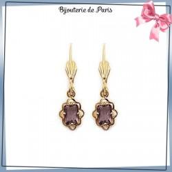 Boucles d'oreilles dormeuses éclat violet en plaqué or
