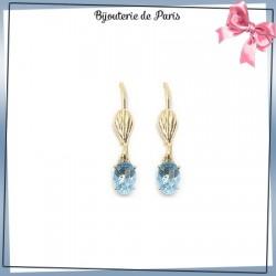 Boucles d'oreilles dormeuses ovale bleu ciel en plaqué or