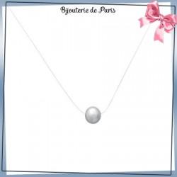 Collier fil transparent perle Biwa et argent