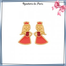 Boucles d'oreilles princesse or 18 carats jaune