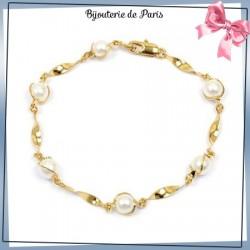 Bracelet 6 perles torsades en plaqué or