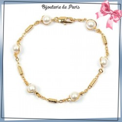 Bracelet 6 perles en plaqué or