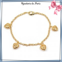 Bracelet breloque coeur en plaqué or