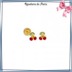 Boucles d'oreilles cerises rouge or 18 carats jaune