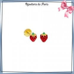 Boucles d'oreilles fraises rouge or 18 carats jaune
