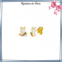 Boucles d'oreilles fleur lapin or 18 carats jaune