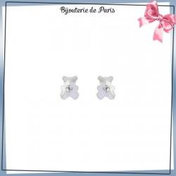 Boucles d'oreilles ourson de nacre or 18 carats jaune et zirconium