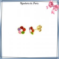 Boucles d'oreilles fleur multiclore or 18 carats jaune