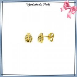 Boucles d'oreilles coccinelles or 18 carats jaune et zirconiums