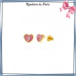 Boucles d'oreilles coeur rose or 18 carats jaune et zirconium