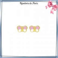 Boucles d'oreilles papillon rose or 18 carats jaune