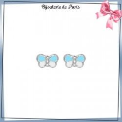 Boucles d'oreilles papillon bleu or 18 carats gris