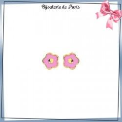Boucles d'oreilles fleur rose or 18 carats jaune