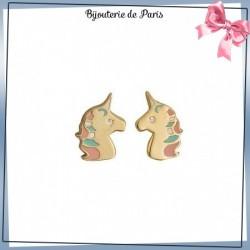 Boucles d'oreilles licorne plaqué or