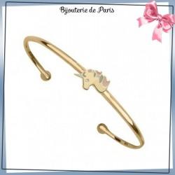 Bracelet jonc licorne plaqué or