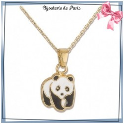 Collier panda plaqué or