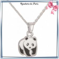 Collier panda argent