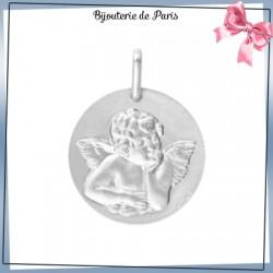 Médaille ange de Raphaël - 17 mm - Or 18 carats gris